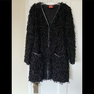 Black shaggy overcoat